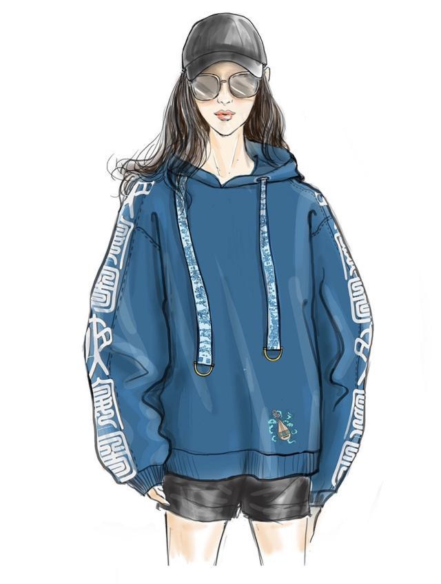 松菇蓝卫衣